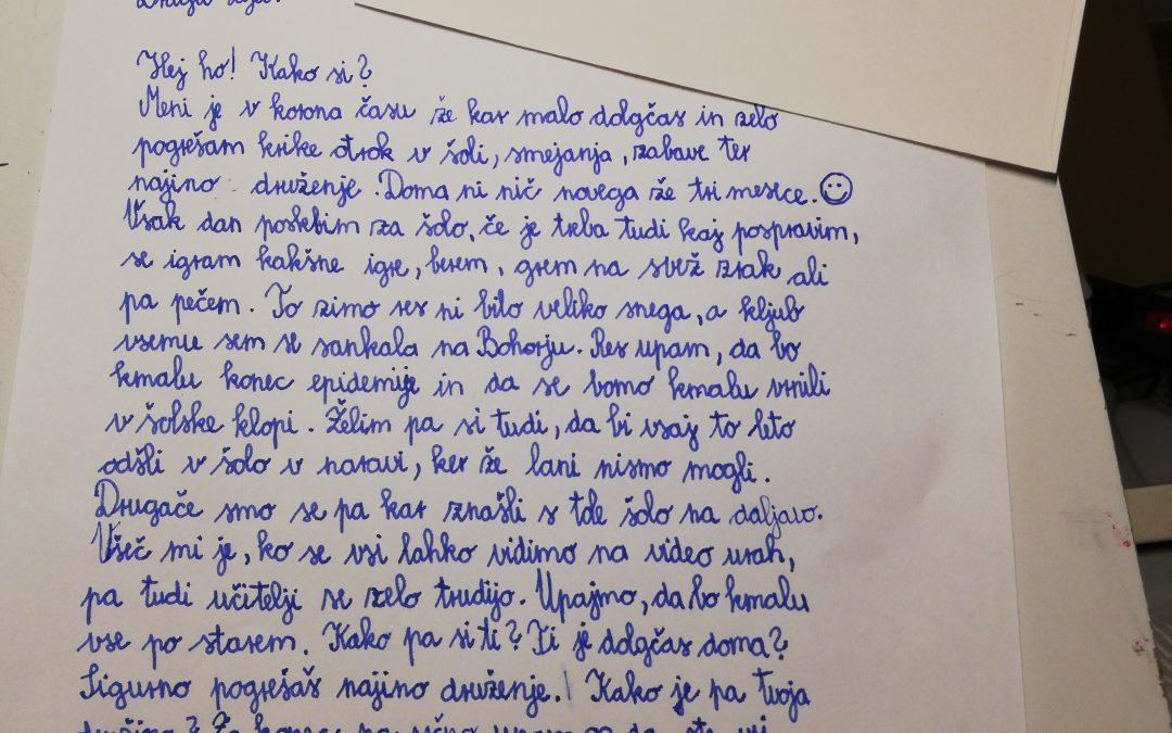 25. 1. 2021 – Pišem pismo sošolki, sošolcu …